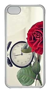 Customized iphone 5C PC Transparent Case - Red Rose Cover
