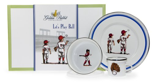 Enamel Baseball (Enamelware - Baseball Boys Pattern - Kids 3 Piece Giftboxed with 4 Ounce Mug, 14 Ounce Bowl and 8½ Inch Plate)