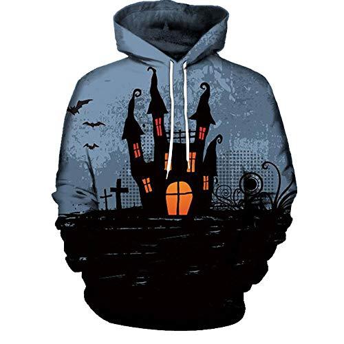 Zainafacai Fashion Print Hoodie- Unisex Realistic 3D Digital Hooded Top Sweatshirt-Happy Halloween 2018/2019 (Black 2, -