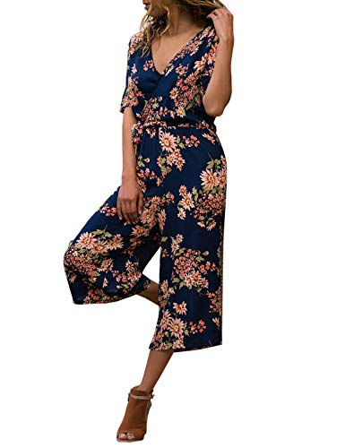 LookbookStore Women's Summer Holiday Short Sleeve Faux Wrap V Neck Navy Floral Print Wide Leg Pants Rompers Jumpsuits Size S US 4 6