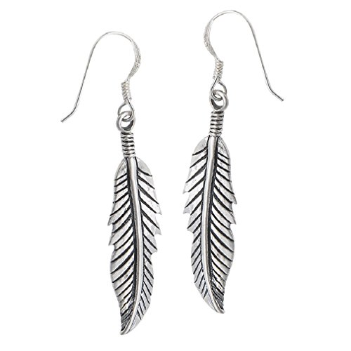 .925 Sterling Silver Textured Feather Dangle Earrings