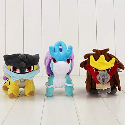 LQT Ltd 3pcs/Lot Stuffed Animals Raikou Suicune Entei Cute Plush Doll Toy Hot Japanese Anime Figure Stuffed Dolls Toy Popular 15-17cm (Best Nature For Suicune)