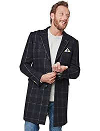 Mens Smart Check Long Overcoat Jacket