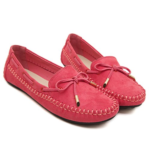 on Shoes Bow D2C Moccasin Women's Loafer Red Beauty Slip q0q6I7