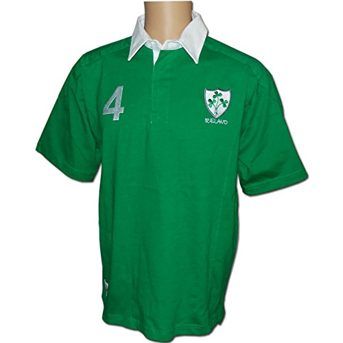 Irish Pride 4 Rugby Shirt, World Cup Rugby Shirt, Ireland Flag Sleeve, 4 Provinces, Green, (Authentic Notre Dame Green Jersey)