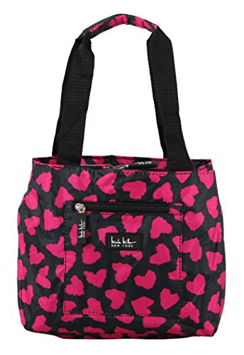 Nicole Miller of New York Insulated Lunch Cooler- Hot PInk/Black 11 inch Lunch Tote