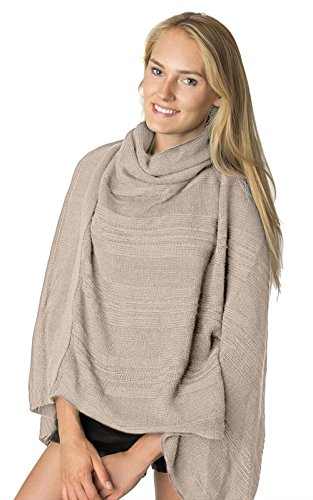 Accessory Necessary LL - Beige Cowl Neck Short Open Knit Asymmetric Pullover Poncho Sweater Top Turtleneck With Fringe by Accessory Necessary