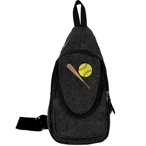 (Softball Baseball Bat Batting Canvas Sling Bag Rucksack For Men&Women)