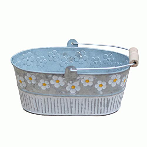 Yardwe Oval Metal Tin Plant Flower Pot Galvanised Zinc Hanging Planter Icing French Fries Tin Pails Wedding Birthday Party - Oval Iron Planter