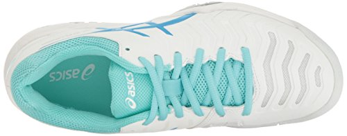 ASICS Women's Gel-Challenger 11 Tennis Shoe, White/Diva Blue/Aqua Splash, 5.5 M US