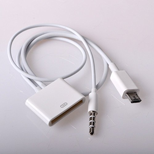 Price comparison product image 30 Pin to Micro USB Cable Adapter Converter with 3.5mm Audio Connector by ME