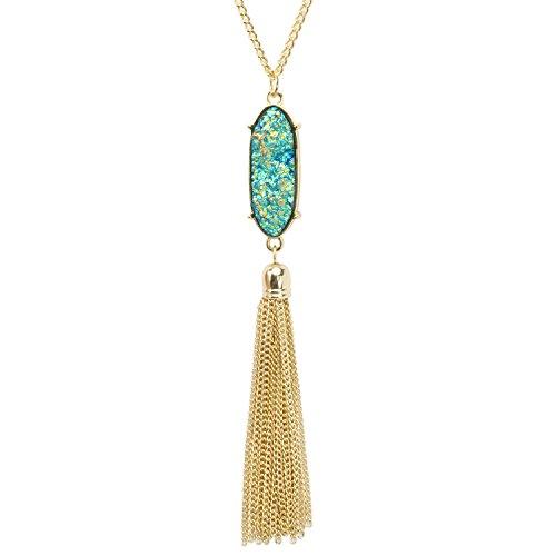 KISSPAT Long Necklace for Women Sparkly Faux Druzy Pendant Long Tassel Necklace Statement (Long Statement Necklace)