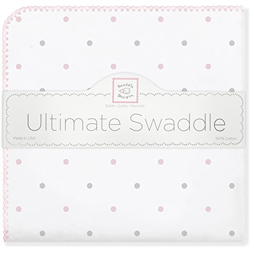 Ultimate Receiving Blanket - SwaddleDesigns Ultimate Swaddle Blanket, Made in USA Premium Cotton Flannel, Pastel Pink Dots