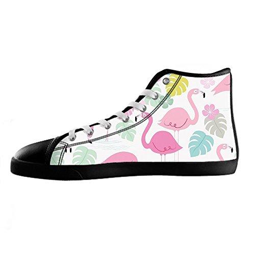 Modelo Personalizado Flamingo Mens Canvas Shoes Cordones De Zapatos Altos Sobre Zapatillas De Lona.