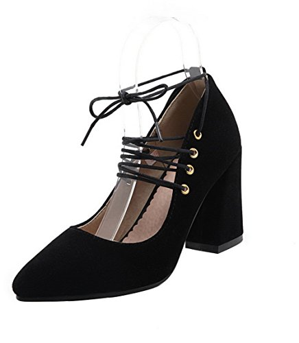 Odomolor Women's Nubuck Leather Pointed Toe High-Heels Lace-up Solid Pumps-Shoes Black