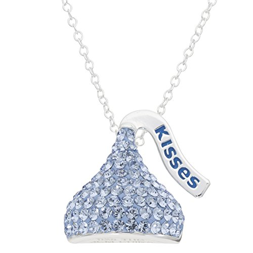 Jewelry Hershey - Hershey's Kisses Birthstone Women's and Girls Jewelry Sterling Silver March Aqua Light Blue Swarovski Crystal Pendant Necklace, 18