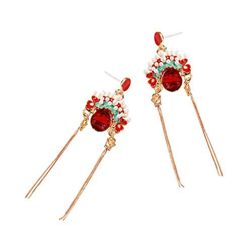 Chic Ethnic Dangle Earrings,Crytech Dainty Vintage China Beijing-Opera Headwear Stud Earring Pearl Charms Red Crystal Drop Chain Fan Fringe Statement Earring for Women Girls Wedding Jewelry Gift (A)