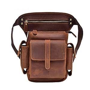 Leather Men Crazy Horse Messenger Crossbody Shoulder Bags Travel Motorcycle Riding Fanny Pack Waist Belt Bags Thigh Drop Leg Bag (Color : Brown, Size : S)