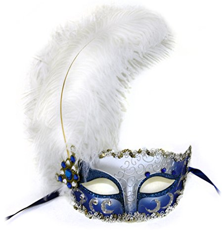 - Success Creations USA Vivienne White Ostrich Feather Mask for Women Blue Silver