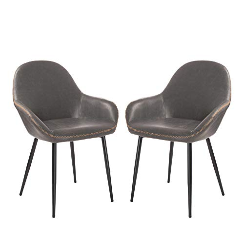 Glitzhome 1950s Modern Arm Chairs Dining Bedroom Living Restaurant Gray Chairs Set of 2