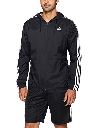 adidas Men's Essentials Wind Jacket, Black/Black/White, Small