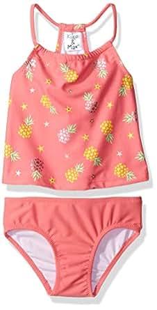 KIKO & MAX Baby-Girls Tankini Bathing Suit Swim Suit Two Piece Bikini - Pink - 12 Months