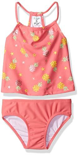 (KIKO & MAX Baby Girls Tankini 2-Piece Swimsuit Bathingsuit, Coral Pineapple Print, 12 Months)