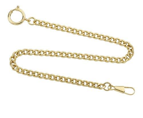 Gotham Gold-Tone Pocket Watch Chain Fob Curb Link 14