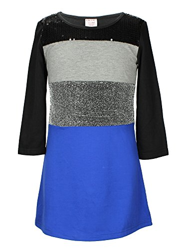 S.W.A.K. Girls Long Sleeves Colorblock with Sequins Dress Royal Size 7 -