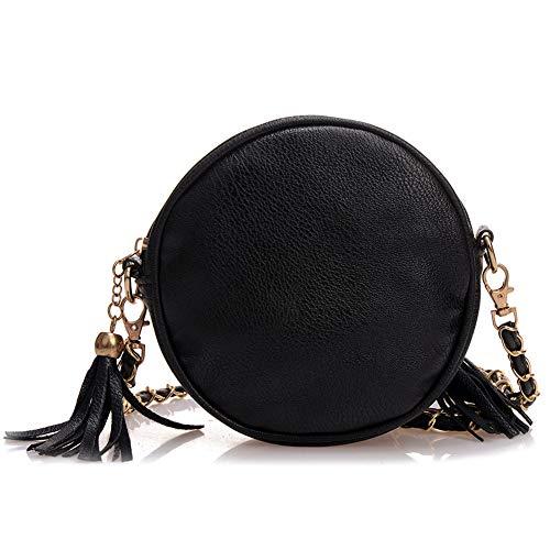 Sac main sac Sacs bandoulière Lady Sling cuir à Mode Femme de chaîne Mini bandoulière bandoulière Cuir Sac Filles Lattice Tassel sacs Sac à à en rond uni Noir Jinm glands Taille Noir à Sac Mini Chaînes zfF5wFqxR