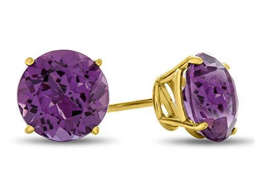 Finejewelers 14k Yellow Gold 7mm Round Amethyst Post-With-Friction-Back Stud ()