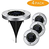 Cheap LOPOO Solar Powered Ground Light, Outdoor 16 LEDs Landscape Lighting Auto On/Off IP65 Waterproof for Driveway Patio Garden Pathway Lawn Stair 4 Pack