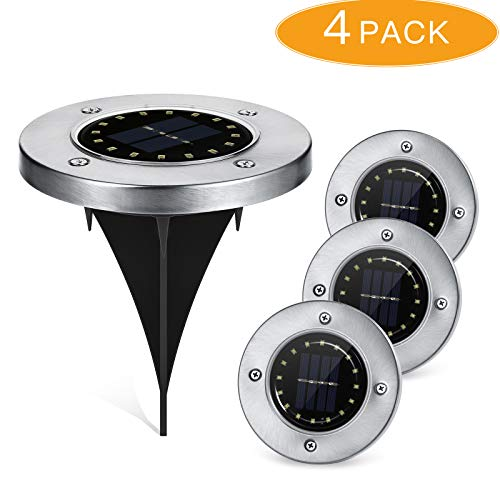 LOPOO Solar Powered Ground Light, Outdoor 16 LEDs Landscape Lighting Auto On/Off IP65 Waterproof for Driveway Patio Garden Pathway Lawn Stair 4 Pack