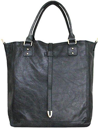 Belted Shopper Handbag (Lush Leather Super Vintage Washed Metal Buckle Belted Graphite Grey Tote)