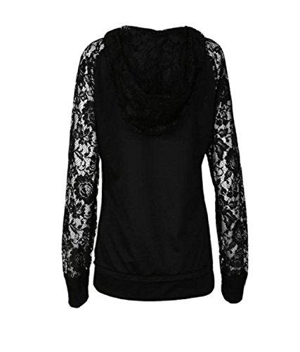 Rcool Womens Lace Up Krawatte Langarm Baumwolle Hoodie Kapuzenpullover Bluse Shirt Pullover Schwarz