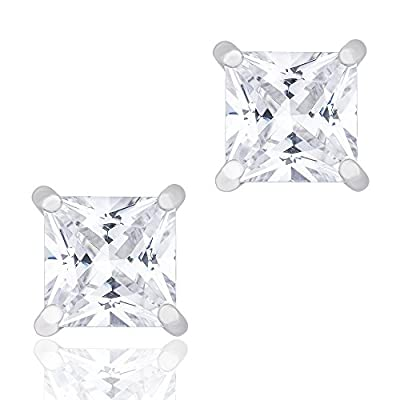 18k White Gold Plated Cubic Zirconia Princess Cut Unisex Solitaire Stud Earrings (2.00 carats) by ORROUS & CO