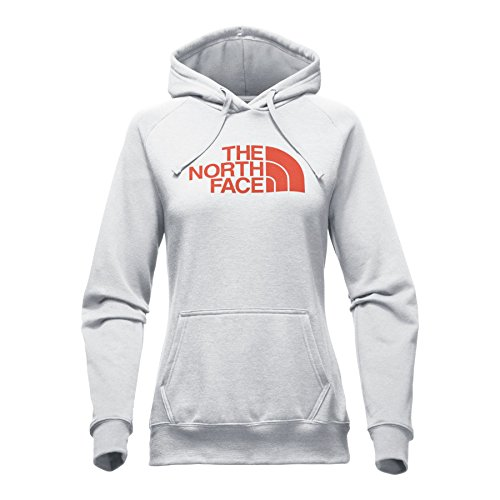 The North Face Women's Half Dome Hoodie - Light Grey Heather/Bossa Nova Red - M