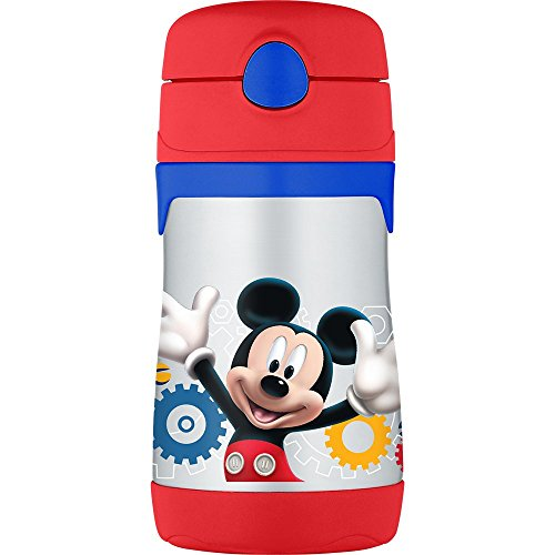 (Thermos Vacuum Insulated Stainless Steel 10-Ounce Straw Bottle, Mickey Mouse)