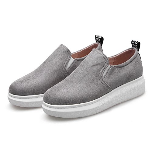 Womens Toe On Solid Gray BalaMasa Suede Round Shoes Pull Walking IRxFvw