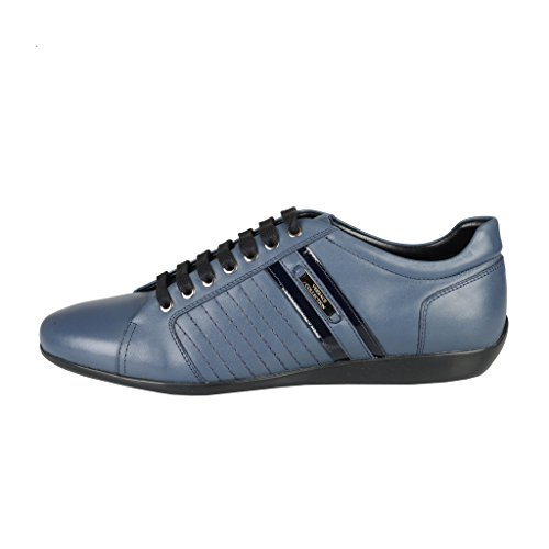 Versace Collection Blue Leather Fashion Sneakers Shoes US 11 IT 44;