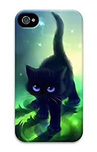 3D Hard Plastic Case for iPhone 4 4S 4G,Black Cat kitty Case Back Cover for iPhone 4 4S