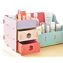 Fashion Creative Wooden Double Drawer DIY Cosmetic Make up Removable Collection Organizer, Jewelry Storage (F-Security)