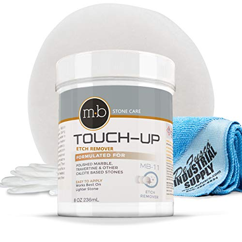 Marble Polishing Powder - MB11 8oz Marble Polish - Norton White Gloss Pad -16x16 Microfiber Cloth - Gloves - BUNDLE - 4 Items ()