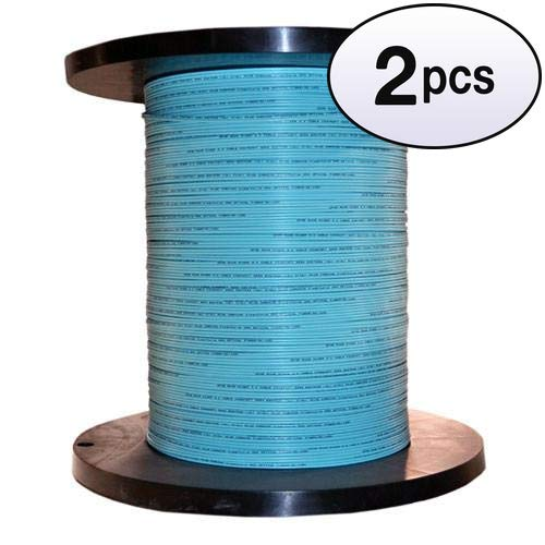 GOWOS (2 Pack) Bulk Zipcord Fiber Optic Cable, Multimode, Duplex, 50/125, OM3, Aqua, Riser Rated, Spool, 1000 Feet