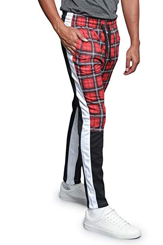 Victorious Plaid Checkered Tartan Triple Tone Sectioned Dual Inner Outer Stripe Track Pants TR535 - Red - Large - E3G