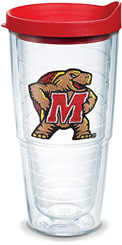 Tervis 1079568 Maryland Terrapins Logo Tumbler with Emblem and Red Lid 24oz, Clear]()