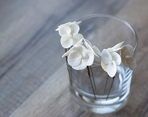 White flower hair pins - hydrangea hair pins - bridal hair pins - wedding flower pins - bridal flowers - hair flowers - wedding hair