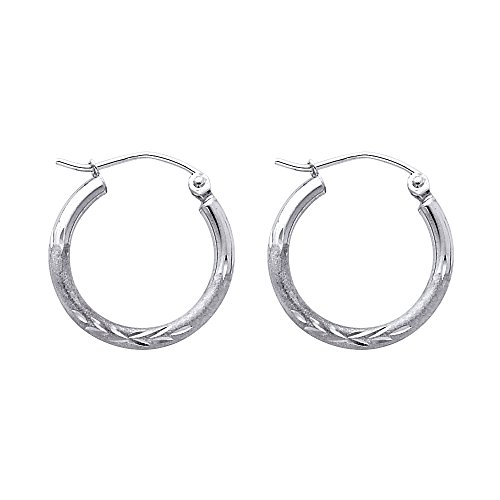 14K White Gold 19mm Hoop Earrings with Satin Finish and Click Top Backings