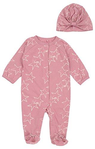 s 2 Piece Set Star Print Onesie Pajama Sleep Bodysuit and Hat Foxglove Prt 3-6 Months (3 Piece Print Onesie)