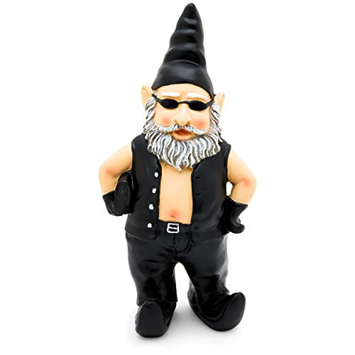 - Garden Gnome Statue Home Outdoor Garden Lawn Funny Figure Biker Leather Jacket Great Gift (Leather Vest)